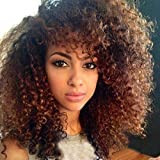 YIROO Ombre Blonde Curly Synthetic Wig for Black Women Lace Front Heat Resistant Wigs with Cap Replacement Natural Color Afro Kinky Curly Wig(16inch) (OT427)