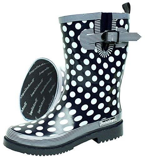 BOCKSTIEGEL® DORIN Damen - Modische Gummistiefel | 36-42 Rubber Boots | Regenstiefel | Polka Dots | Gepunktet, Farbe:Dunkelblau;Größe:42 / UK 8