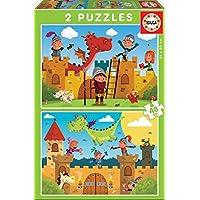 Educa - Dragones y Caballeros, 2 Puzzles infantiles de 48 piezas, a partir de 4 años (17151)