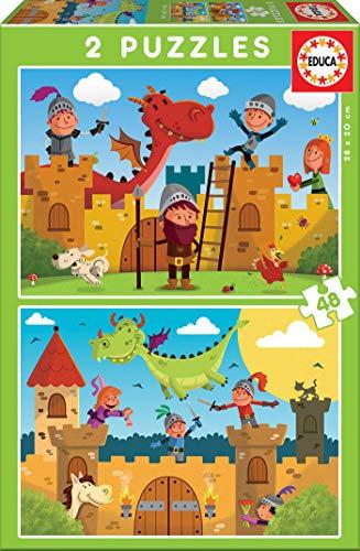 Educa - Dragones y Caballeros 2 Puzzles de 48 Piezas, Multic