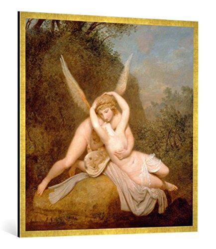 Gerahmtes Bild von Antonio Canova Amor und Psyche, Kunstdruck im hochwertigen handgefertigten Bilder-Rahmen, 100x100 cm, Gold Raya