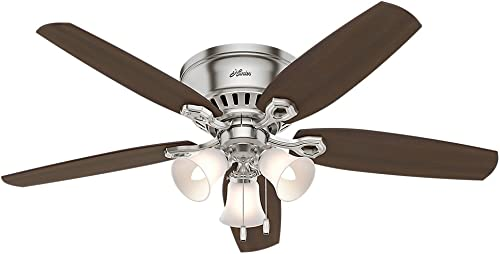 """new arrival Hunter online Builder Indoor Low Profile Ceiling Fan with LED Light and 2021 Pull Chain Control, 52"""", Brushed Nickel outlet sale"""