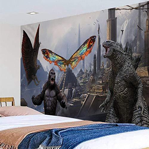 Relic Wall tapiz Mots Fighting Tapestry Godzilla Mothra y King Kong Rodan Wall Colgando Tiro Playa Toalla Mural Manta Manta Picnic Mat-130 * 150
