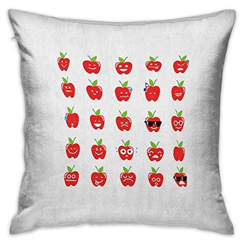 N\A Emoji Square Funda de Almohada Personalizada Apple con Expresiones faciales Happy Sad con Gafas Canto Patrón confuso Fundas de cojín Rojo Verde Negro Fundas de Almohada para sofá Dormitorio Coche