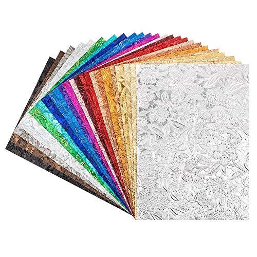 Ideen mit Herz Deko-Papier Natur | Naturpapiere | Buntpapier | handgemacht | veredelt | geprägt | bunt | DIN A4 | 24 Stück in 24 Farben (Design 02)