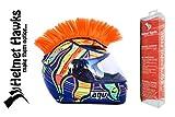 Helmet Hawks Motorcycle Helmet Mohawk w/Sticky Hook and Loop Fastener Adhesive - Fluorescent Orange