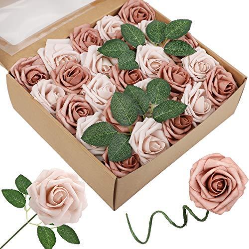 Homcomodar Künstliche Rose 30Pc Künstliche Blume Gefälschte Rosen für Die Hochzeit (50Pc, Warmes Taupe & Nude)