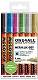 Molotow One4All 127HS Acryl Marker (Metallic-Set, 2 mm Spitze, hochdeckend und permanent, UV-beständig, für fast alle Untergründe) 6 Stück sortiert