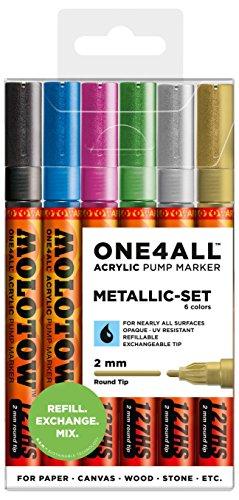 Molotow 200197- Juego Metallic de 6rotuladores One4All 127HS, 2mm