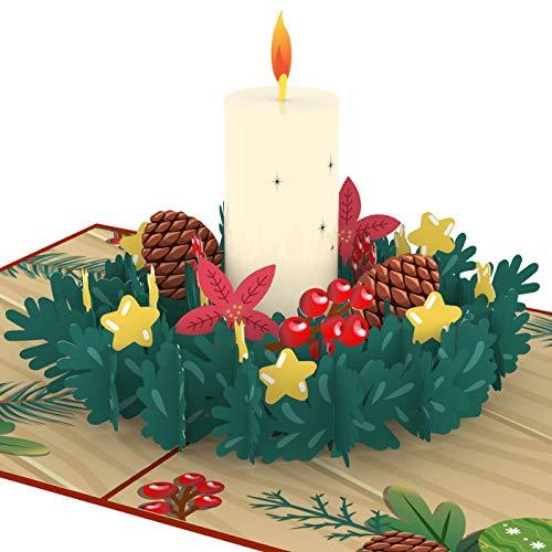 PaperCrush® Pop-Up Karte Weihnachten Adventskranz - 3D Weihnachtskarte mit Advent Kerze für Frauen (Freundin, Mutter, Oma) - Handgemachte Popup Weihnachtsgrußkarte inkl. Umschlag