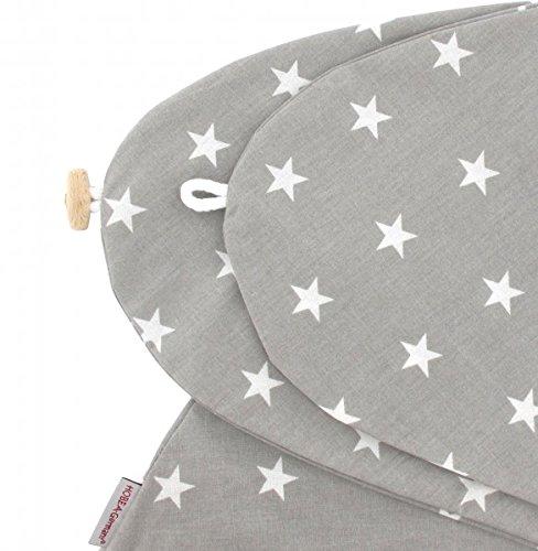 Stillkissenbezug für Stillkissen 190cm in verschiedenen Farben und Designs von HOBEA-Germany, Modell:grau mit weißen Sternen