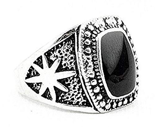 Zilveren ring met zwarte rechthoekige steen - verhoogde zijsterren - unisex-manvrouw - meisjesjongens - cadeau-idee