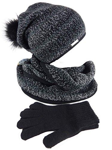 AMALTEA 3 teilig Damen-Kombi Winter-Set Alma, Longbeanie mit großem Pompon, Schlauchschal, Handschuhe, One Size schwarz Black anthrazit