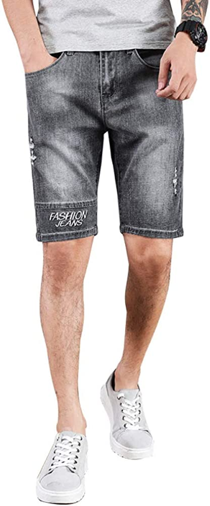 Men's Jeans Shorts Summer Endurance Solid Color Wild Fashion Mid-Waist