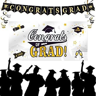 """Graduation Decorations 2021, Graduation Party Supplies, Large Graduation Banner Backdrop, Black Graduation Party Banner Backdrop (70.8""""x42.9"""") and Graduation Party Banner(90.5""""x7.4"""")(White)"""