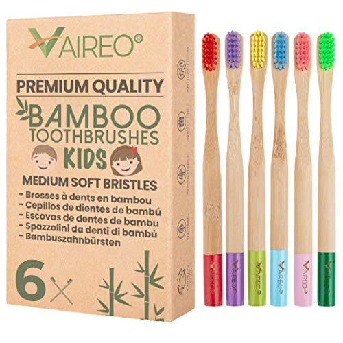 Vaireo Bamboo Kids Eco Friendly Wooden Soft Toothbrushes – Wood Vegan Compostable Biodegradable Non Plastic Nylon Bristles Recyclable Sustainable Organic Natural Tooth Brush (Child Colorful 6 Pack)