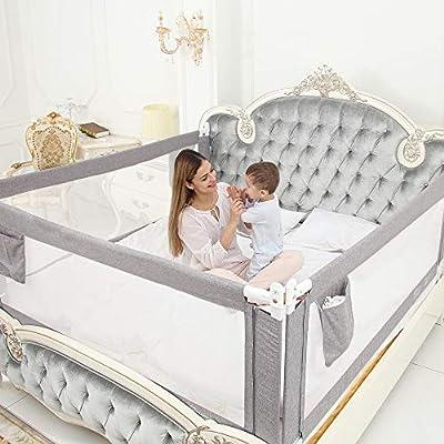● Fácil de instalar: el riel de la cama adopta un diseño vertical, libre para subir y bajar, sin espacio, conveniente y rápido, el riel de la cama debe atornillarse al marco, lo que puede proteger la seguridad de los niños. No se recomienda su uso en...