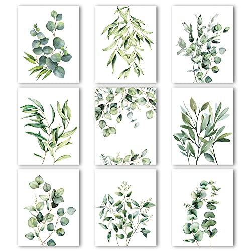 9 Pieces Botanical Plant Wall Art Prints Eucalyptus Prints Green Leaves Watercolor Wall Posters Boho Wall Decor Minimalist Wall Art for Farmhouse Living Room Bedroom Kitchen (8 x 10 Inch, Unframed)