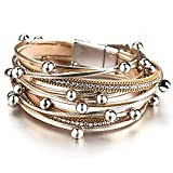 Overvloedi Pulsera de cuero de las señoras simple aleación de cuentas Rhinestone cadena de metal multicapa pulsera accesorios de joyería 4