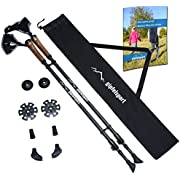 gipfelsport Carbon Nordic Walking Stöcke I Teleskop Walkingstöcke mit Tasche I schwarz, leicht, verstellbar
