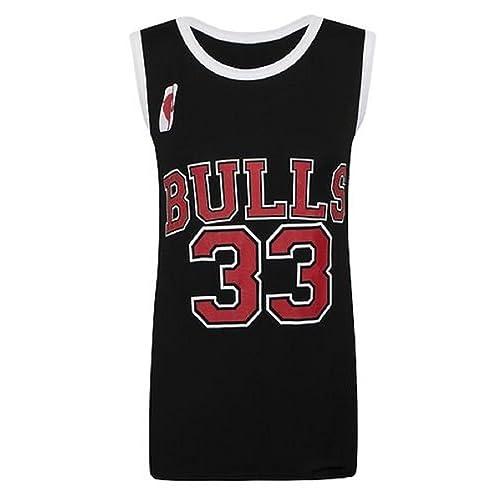 ad57cbb8570b Ladies Womens Basketball NBA Style Vest Top Chicago Bulls 33 Look American  Celeb