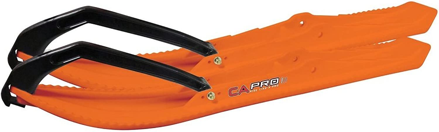 Pair of orange C&A Pro BOONDOCKING XTREME 71 4 Snowmobile Skis W Black C&A Loops