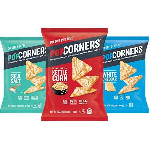 PopCorners Snacks Variety Pack | Gluten Free Chips Snack Packs | Kettle Corn, White Cheddar, Sea Salt | (18 Pack, 1 oz Snack Bags)-SET OF 2