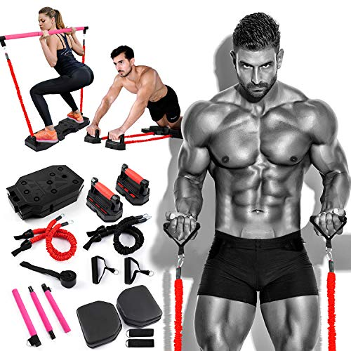 Portable Home Gym Workout Equipment with 8 Exercise Accessories,Pilates,Ab Roller Wheels 90 lbs Heavy Resistance Bands Multifunction fitness boards,Full Body Fitness System Build Muscle Burn Fat
