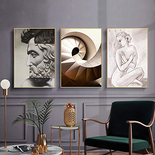 Artistique 3pcs Set Of Gold Picture Frame Nordic Minimaliste Abstrait Spirale Femme Décorative Murale Peinture Murale Murale 30 40 40 60 Cm