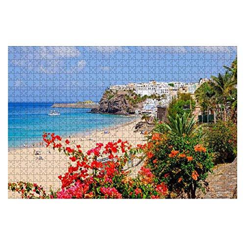 VJSDIUD Rompecabezas de Madera 1000 Piezas Playa en Morro Jable Fuerteventura Orilla del mar Flores Imágenes de Archivo Rompecabezas para niños o Adultos Juguetes educativos Juego de descompresión