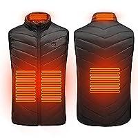 4つの療法の加熱パネルが付いている男性の女性のための暖房ベスト3任意の温度USB充電洗える,黒,XXL