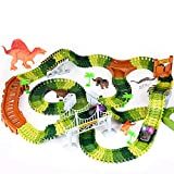 Dinosaur Toys, 258Pcs Create A Dinosaur World Road Race Flexible Track with 2 Cool Dinosaurs Cars,4 Dinosaurs,Best Gift Toys for 3 4 5 6 Year & Up Old Boys and Girls Kids