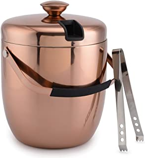 Malmo Stainless Steel Double Walled Ice Bucket with Tongs & Sealed Lid (3L) - Steel Interior & Copper Exterior - Chiller Bin Basket for Parties, BBQ & Buffet