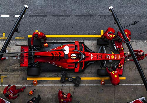 Poster 11542 (A3-A4-A5) mit Sebastianischer Vettel F1 Formel 1 Ferrari SF90 Test Pit Stop Catalunya Circuit Barcelona 2019, A3