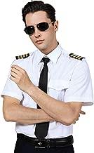 Pilot Men's Dress Shirt Adult White Aviator Captain Halloween DIY Uniform Spread Collar Epaulette Four Bars Tie Set