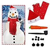 SAND MINE Snowman Decorations, 14 Pcs Snowman Making Kit, Winter Kids Toys Christmas Holiday Party Decorations (Red)