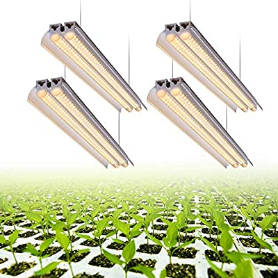 Monios-L T5 LED Grow Light, 4FT Full Spectrum Sunlight Replacement with Reflector, 60W Double Tube White Light High Output Integrated Fixture with Hanging System for Indoor Plants,Plug and Play 4-pack