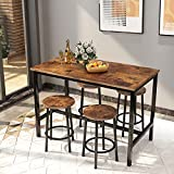 AWQM Bar Table and Chairs Set Industrial Counter Height Pub Table with 4 Chairs Bar Table Set 5 Pieces Dining Table Set Home Kitchen Breakfast Table, Rustic Brown