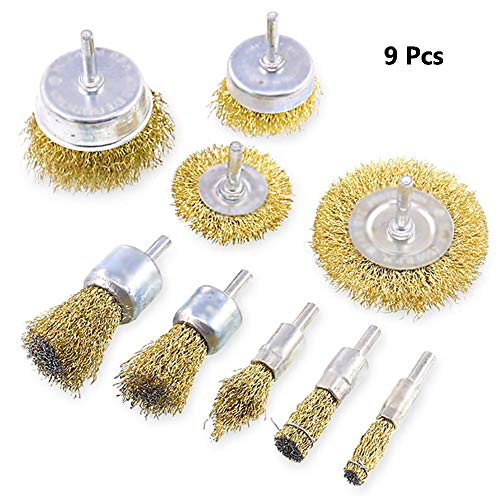 """9PCS Brass Coated Wire Brush Drill Set, Multifunction Wire Brush Wheel & Cup Brush Set with 1/4""""(6mm) Shank, for Rust/Corrosion/Paint"""