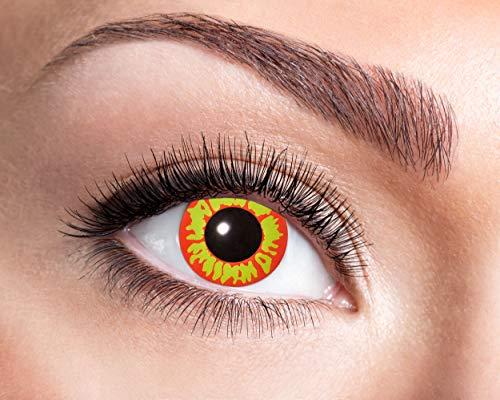 Zoelibat Farbige Kontaktlinsen in Markenqualität, Wochenlinsen, 2 Stück, BC 8.6 mm / DIA 14.5 mm, Ork, für Halloween, Fasching, Karneval, gelb/oange
