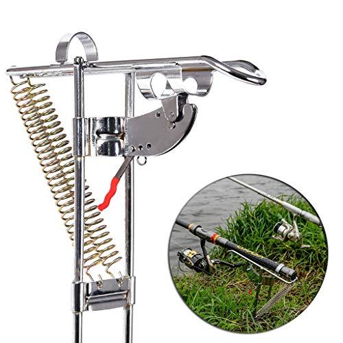 95sCloud Edelstahl Rutenhalter Angelrute Halter,Automatic Double Spring Angle Rod Pole Fis Ruten Ständer Rutenablage Halterung Fishing Rod Holder zum Angeln