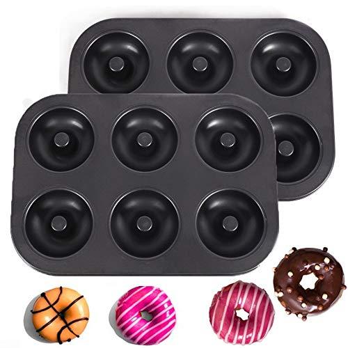 SIMUR Antihaft-Donut-Backformen mit 6 Kavitäten, 2-teiliges Donut-Pfannenset, Donut-Form aus Kohlenstoffstahl, Bagelform für Donut-Backblech für 6 Donuts