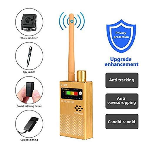 NAMENLOS Anti-spy Wireless RF Signal Detector Upgrade Enhanced Bug GPS Ultra-high Sensitivity Hidden Camera Detector Wireless Signal Device Finder for Home Hotel Travel Suitcase,Gold