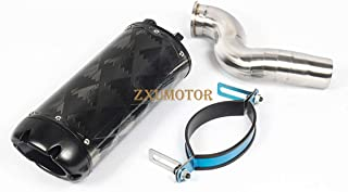 """ZAIXU Motorcycle Slip-On Exhaust System Stainless Silver """"S"""" Link with Carbon Fiber Tail Pipe Muffler Black For Kawasaki zx6r ZX-6R 636 2004-2008 (Leaf Black Side)"""