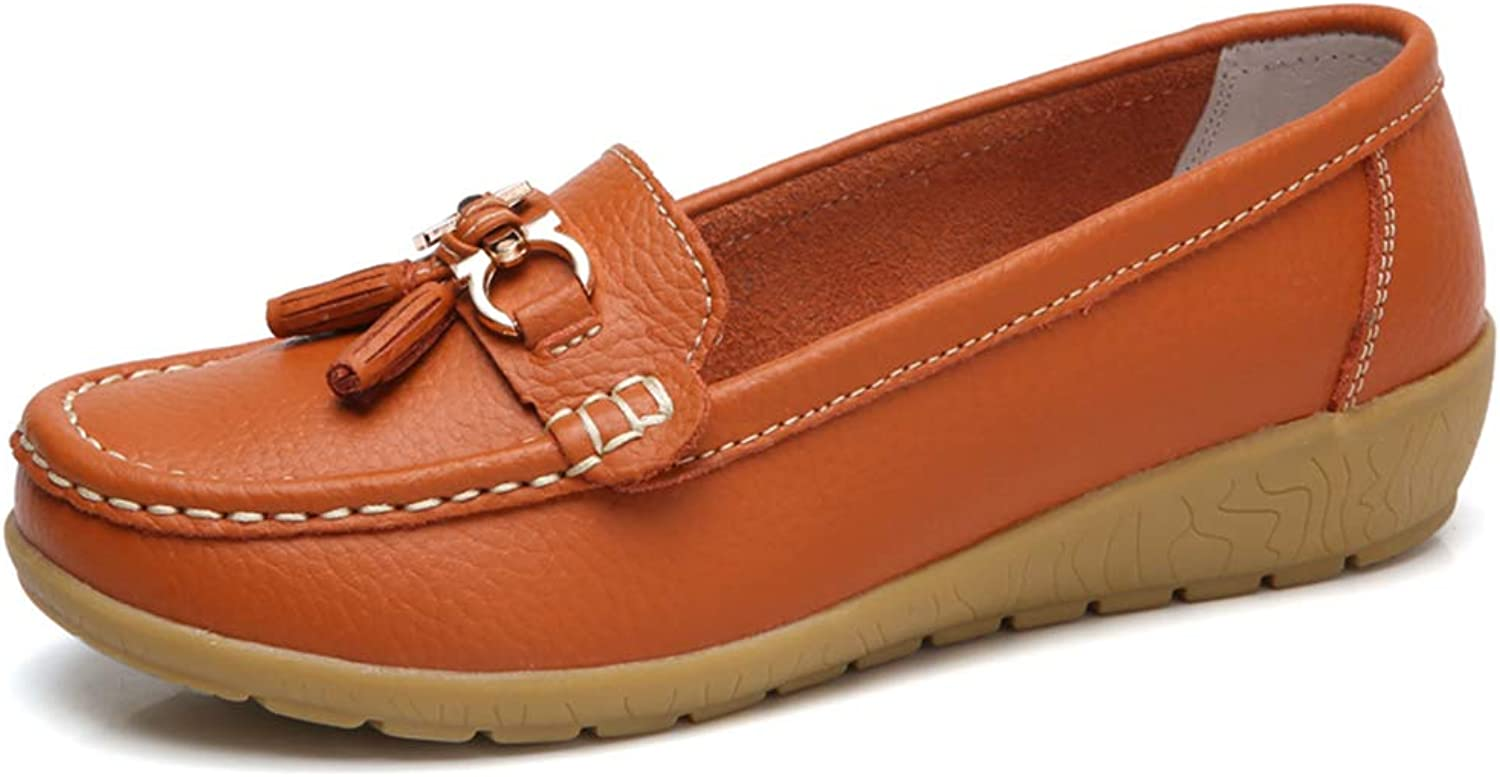 JOYBI Women Flat Loafers Peas shoes Driving Leather Tassels Round Toe Comfort Slip On Soft Casual Moccasins