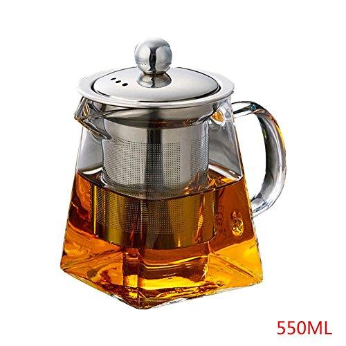 chinejaper theepot glazen theemaker met afneembare roestvrijstalen zeef en deksel, glazen kan verwarmen op het fornuis voor losse thee, bloeiende thee en koffie, 350 ml/550 ml / 750 ml