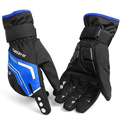 Guantes de Invierno cálidos para Motocicleta Guantes de Gel para Montar Guantes de esquí al Aire Libre para Hombres Guantes de Bicicleta de montaña Bicicleta de Moto - Azul, XL