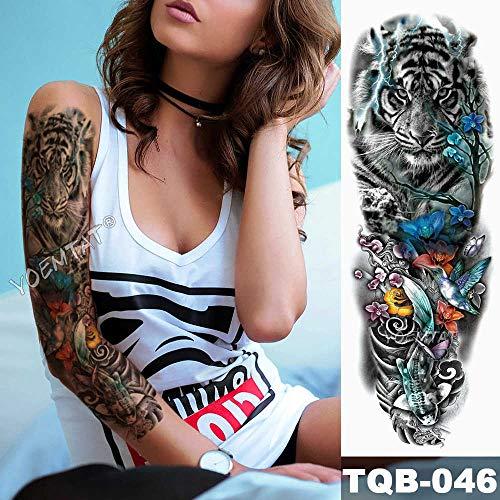 3 Piezas Tatuaje de Manga de Brazo Grande Corona de león Pegatina de Tatuaje Impermeable patrón de Lobo Salvaje Tatuaje de tótem para Hombre
