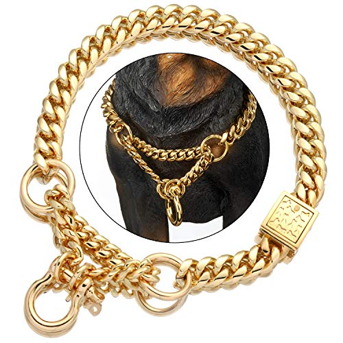 """Gold Dog Martingale Collar Metal Chain Choke with Design Secure Buckle, 18K Cuban Link 15MM Strong Heavy Duty Chew Proof Walking Training Slip Collar for Small Collar. (15MM, 12"""") Massachusetts"""