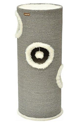 nanook Kratztonne Oskar - Spieltonne für Katzen mit Kuschelhöhlen und Spielball - grau - Höhe 100 cm, Ø 37 cm